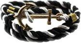 Victorious - Zwart en Wit Touw - goudkleurig Anker - One Size
