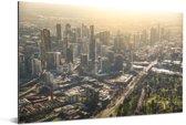 Luchtfoto met een zonsondergang over Melbourne in Australië Aluminium 180x120 cm - Foto print op Aluminium (metaal wanddecoratie) XXL / Groot formaat!