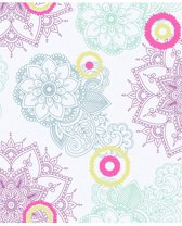 Village People dessin grijs/roze/grn behang (vliesbehang, roze)