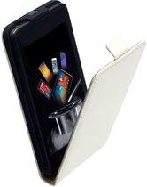 Lederen Flip Case Wit Motorola Moto E Flipcover Hoesje