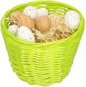 Groen paasmandje met plastic kwartel eieren 14cm  mandjes met paaseieren