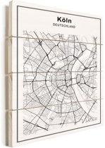 Stadskaart - Keulen vurenhout groot 100x140 cm - Plattegrond