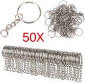 RVS Sleutelringen Met Ketting - Sleutelhanger Split Ringen - Sleutel Splitringen- Key Tag Hanger Set 25 mm - 50 Stuks