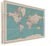 Vintage Wereldkaart voor aan Muur of Wand Vurenhout Historisch klein 40x30 cm | Wereldkaart Hout