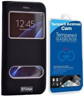 Teleplus Samsung Galaxy S7 Edge New Double Window Case Black + Glass Screen Protector Including Curve Part hoesje