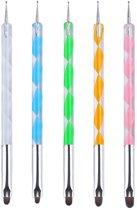 5-delige set Evvie nail art penselen en dotting tools – gekleurd