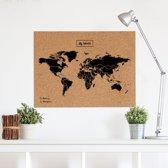 Miss Woody - Eco Wereldkaart Kurk - Woody Map XL - 90 x 60 cm - Kurk - Zwart