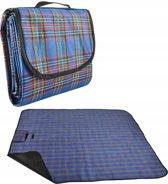 Opvouwbaar Picknick Kleed - Waterdicht - Plastic Buiten Deken - Groot Strand Laken - Festival / Camping Plaid Blanket - Afmeting 180 x 145 cm - Blauw Geruit
