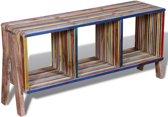 Tv-meubel met 3 vakken kleurrijk gerecycled teak stapelbaar