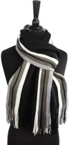 Heren sjaal - acryl - gestreept - zwart - grijs - wit - 23 x 180 cm