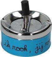 Luxe Asbak met Draaiknop Deksel voor Binnen Blauw – 11x10x5cm | Voor het Roken van Sigaretten