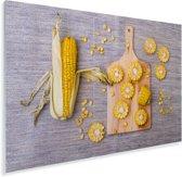 Gesneden maïskolven op een hakbord Plexiglas 30x20 cm - klein - Foto print op Glas (Plexiglas wanddecoratie)