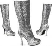 Zilveren glitter laarzen met hak 37