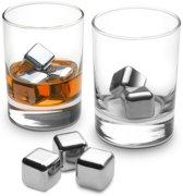 Set van vier metalen ijsblokjes - whiskey stones (ice cubes)