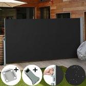 Uittrekbaar zonne - windscherm 200 x 300 cm zwart met vloerbeugel