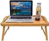 Bamboe Bedtafel - Houten dienblad - Ontbijt op bed tafeltje + laptoptafel & bijzettafel