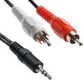 Hoge kwaliteit Jack 3.5mm Stereo to RCA Male Audio Kabel, Lengte: 5m