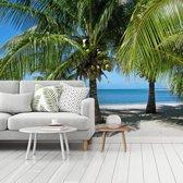 Fotobehang vinyl - Palmbomen en het parelwitte strand in Glover's Reef breedte 350 cm x hoogte 260 cm - Foto print op behang (in 7 formaten beschikbaar)