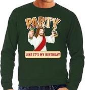 Foute Kersttrui / sweater - Party Jezus - groen voor heren - kerstkleding / kerst outfit L (52)