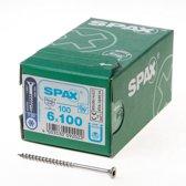 Spax Spaanplaatschroef platverzonken kop RVS T-Star T30 deeldraad 6.0 x 100mm (Prijs per 100 stuks)