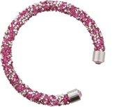 Roze met zilveren bangle met kristallen.