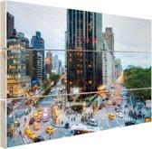 Broadway en Central Park West Hout 120x80 cm - Foto print op Hout (Wanddecoratie)
