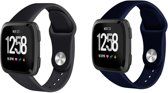 Fitbit Versa Siliconen Bandjes - 2 Stuks - Zwart & Donkerblauw