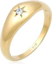 Elli Ringen zegelring ster Swarovski® kristal 925 zilver verguld