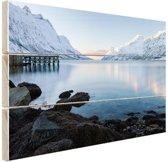 Ersfjordbotn Fjord Noorwegen sneeuw Hout 30x20 cm - Foto print op Hout (Wanddecoratie)