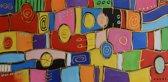 Schilderij abstract kleurrijk 100x50 Artello - Handgeschilderd - Woonkamer schilderij - Slaapkamer schilderij - Canvas - Modern