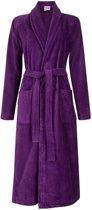 Dames badjas paars - velours katoen - sjaalkraag - maat L/XL