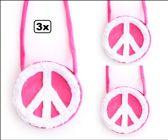 3x Schoudertas hippie roze