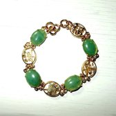 Armband, goudkleurig met jade edelsteen