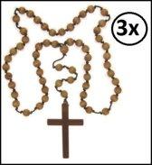 3x Luxe kruis met kralen ketting
