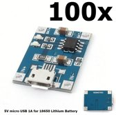 100 Stuks - 5V Micro USB 1A 18650 Battery Charging Board Module
