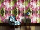 Fotobehang Papier Hout, Bloemen | Roze | 254x184cm