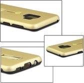 Let op type!! Voor Galaxy S9 backcover berijpte TPU + PC beschermende hoes met Holder(Gold)