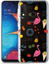 Galaxy A20e Hoesje Summer Flamingo