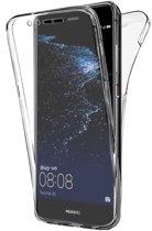 Huawei P10 Lite - Volledige 360 Graden Bescherming (Voor en Achterkant) Edged Siliconen Gel TPU Case Screenprotector Transparant Cover Hoesje - (0.5mm)