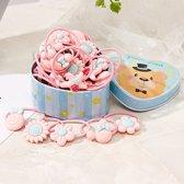 Superleuk blauw blikje met 20 stuks roze haaraccessoires - Roze gekleurde haar elastiekjes voor meisjes - Leuk als cadeau of giftbox - Haar Elastiekje Haarsieraad Haar Accessoires voor meisjes