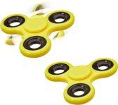relaxdays 2 x Fidget Spinner - tri-spinner 58g - hand spinner - anti-stress speelgoed geel