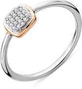 Majestine Ring 9 karaat (375) bicolor pavé - dames - wit/roosgoudkleurig - diamant 0.06 ct - maat 54