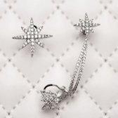 Fashionidea – Mooie asymmetrische oorbellen zilverkleurige sterren met strass steentjes