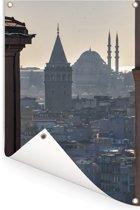 Istanbul door de gebouwen heen Tuinposter 120x180 cm - Tuindoek / Buitencanvas / Schilderijen voor buiten (tuin decoratie) XXL / Groot formaat!