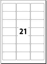 adresetiket Sigel 63,5x38,1mm wit doos à 25 vel 21 etiketten per vel