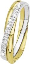 Lucardi - Diamond Luxury - 14 Karaat bicolor gouden ring met diamant