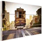 Tram San Francisco Hout 120x80 cm - Foto print op Hout (Wanddecoratie)