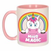 1x Miss Magic beker / mok - roze met wit - 300 ml keramiek - eenhoorn bekers