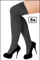 5x Paar Overknee kousen lurex zilver stretch.