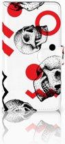 Huawei Y7 2017 | Y7 Prime 2017 Boekhoesje Design Skull Red